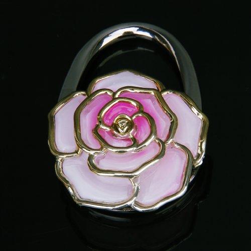 Borsa Pieghevole Del Sacchetto Della Borsa Del Gancio Tavolo Durevole Gancio Appendere Titolare Di Rosa A Forma Di Fiore - Rosa