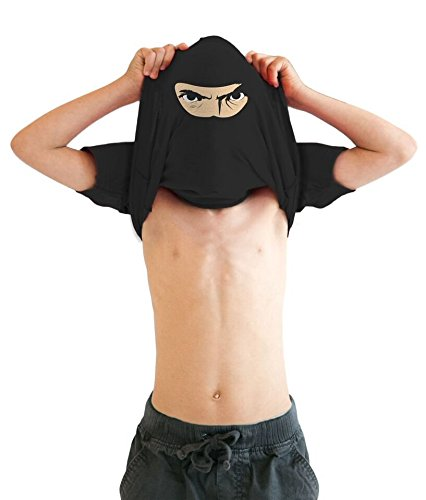 Ninja T Shirt (Youth Ninja Disguise Flip T Shirt Funny Cool Costume Mask Tee For Kids (Black) - L)