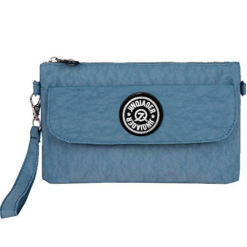 Wocharm Womens Zipper Purse Waterproof Nylon Wristlet Bag Ladies Clutch Handbag Cell Phone Pouch Light Blue