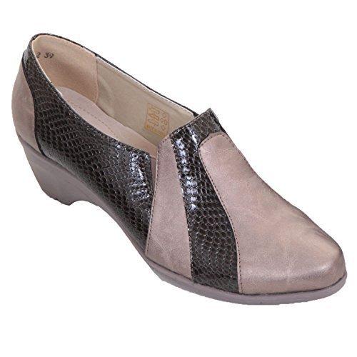 ZAFIRO Boutique Mujer Piel Falsa de meter Charol Serpiente Cuña Baja ACOLCHADO Zapatos mocasines - gris/dorado, 6 UK: Amazon.es: Zapatos y complementos