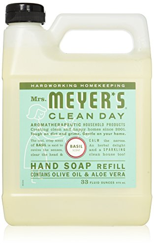 Liquid Hand Soap Refill, Basil Scent, Mrs. Meyers Clean Day, 33 fl oz (975 ml)