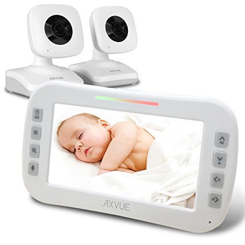 axvue e612 video baby monitor with 4 3 lcd screen and two cameras night vision 800 ft. Black Bedroom Furniture Sets. Home Design Ideas