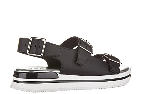 Hogan sandales femme en cuir boucles noir