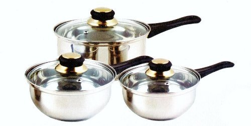3 Piece Stainless Steel saucepan Set With Glass Lids