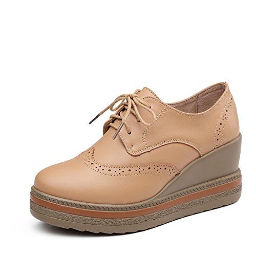 Zapatos de suela gruesa plataforma de Inglaterra en mujer de primavera/Zapatos planos de cuero Brock/Zapatos de cuñas/Zapatos de mujer B