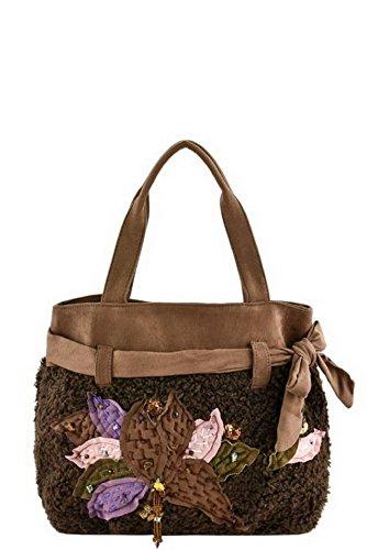 Women faux suede tote bags handbag big size(Brown) - 1