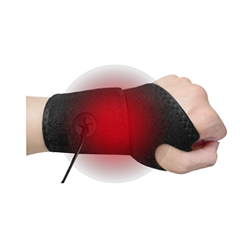 WELL-DAY Graphene Far Infrared Heat Therapy Hand Wrist Wrap, Electric Heating Pad Support w/Nano Carbon - Wrist Pad Heating