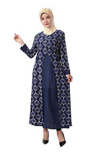 f4aaaf0744540a GladThink Damen Muslim Islamisch Mode Kleid Maxi Kleid Lange Ärmel Marine  77QLR2
