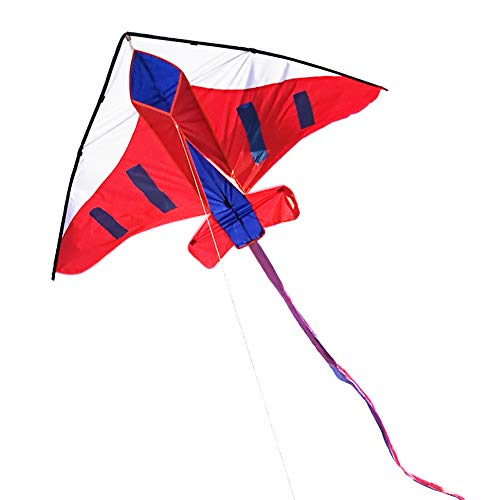 Besra 60inch Plane Kite Single Line Easy to Fly Aircraft Nylon Kite for Kids & Adults (Red)