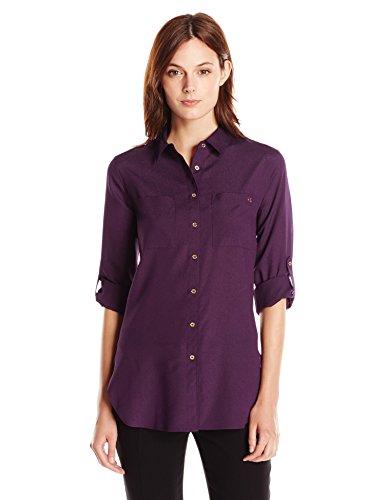 Calvin Klein Women's Roll Sleeve Tunic, Aubergine, Large
