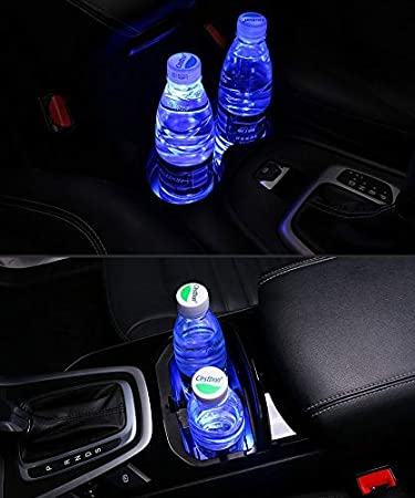 2pcs LED Car Logo Cup Holder Pads 7 Colors Changing USB Charging Mats Bottle Coasters Car Atmosphere Lamps F-ord