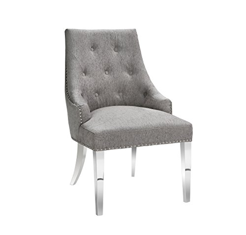 - Uptown Club GM3186 Logan Modern Dining Chair with Nailhead Trim, Platinum
