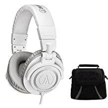 Audio-Technica ATH-M50 Professional Studio Headphones w/ Coiled Cable (Ice White) Deluxe Bundle