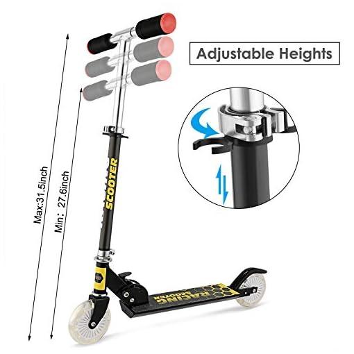 WeSkate Trottinette pour Enfants avec 2 Roues Lumineuses Scooter en Portable pour 4-12 Ans, Modèle Pliable, Poignées Ajustable, Jusqu'à 110lb
