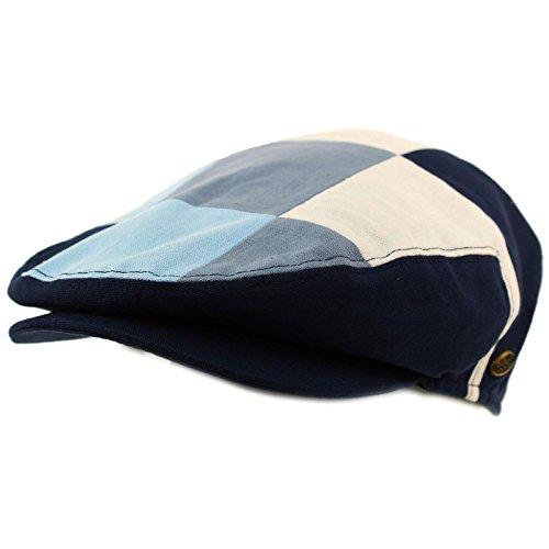 Checker Cap Hat - SK Hat shop Men's Cotton 14 Panel IVY Checkerboard Plaid Driver Cabby Flat Cap Hat Large Navy