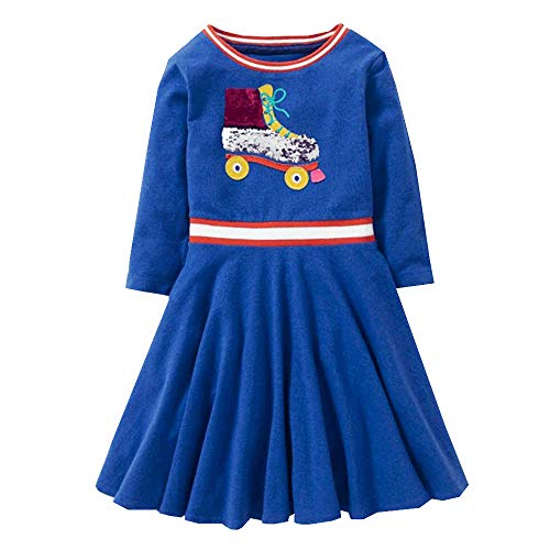 Price comparison product image VIKITA Toddler Girls Roller Shoes Silver & Pink flip Sequin Long Sleeve Dresses Great Gift (2T, SMKLP001 Blue)