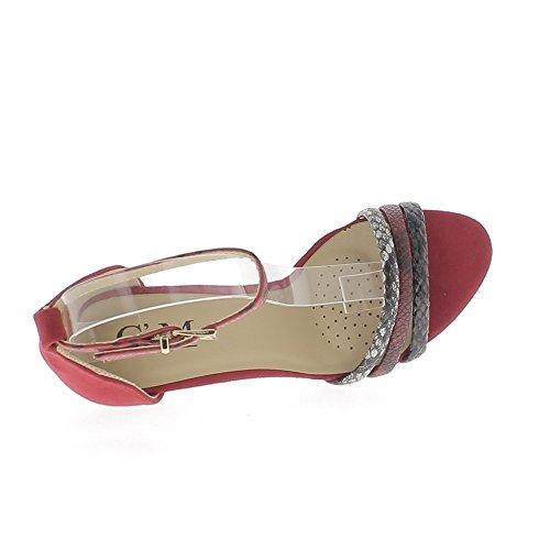 Sandales rouges à talon fin de 10,5cm aspect daim fines brides