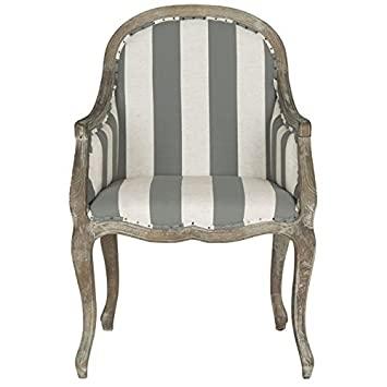 Miraculous Safavieh Mercer Collection Esther Grey Off White Striped Arm Chair Ibusinesslaw Wood Chair Design Ideas Ibusinesslaworg