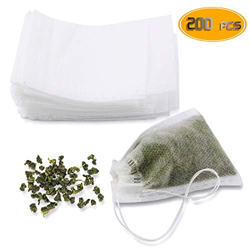 (WFPLUS 200pcs Disposable Filter Bags, Empty Cotton Drawstring Tea Infuser for Loose Leaf Teal, 2.16 x 2.75 inch, White)