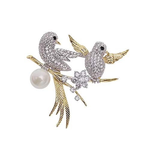 Mondora Prom Brooch Pin Hummingbird Couple Simulated Pearl Women
