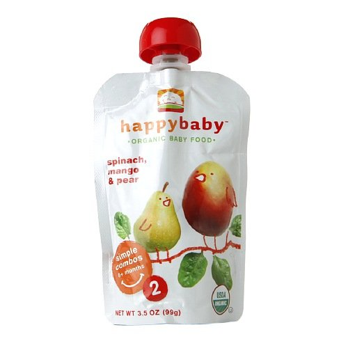 Happy Baby Organic Baby Food: Stage 2 / Simple Combos, 6+ months, Spinach, Mango & Pear 3.5 oz (Pack of 3)