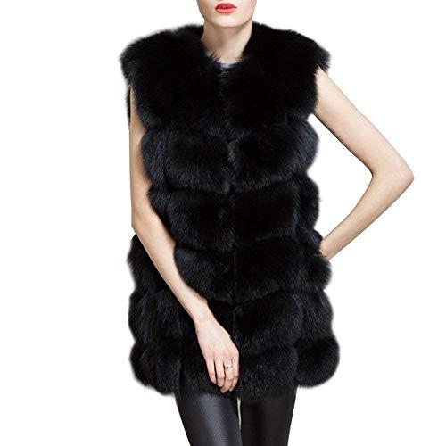 Unie Épaissir Vêtements Couleur Vintage En Fourrure Chaud Schwarz Elégante Femme Gilet Sans Art Manches Doux Manteau Vest Fashion Hiver Parka Veste pHqwOP4P