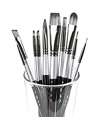 Art Paint Brushes Set for Acrylic Oil Watercolor, Artist Face and Body Professional Painting Kits with Synthetic Nylon Tips, 10 Pieces