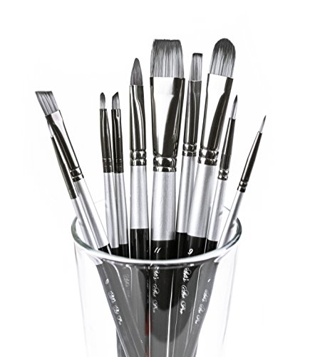 Adi's Art Pro Paint Brushes Set for Acrylic Oil Watercolor, Artist Face and Body Professional Painting Kits with Synthetic Nylon Tips, 10 Pieces (Black) ()
