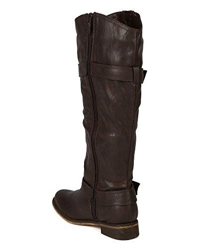 Breckelles Ae58 Kvinner Leather Rund Tå Glidelås Ridning Kneet Høyt Boot Brown