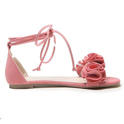 TAOFFEN Pink Sandali 8 Scarpe Donna Basse Dolce PnPqx4pC8