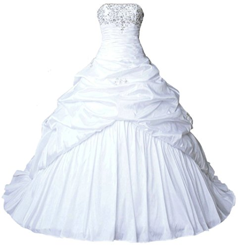 ... Women s Strapless Taffeta Wedding Dress Bridal Gown White Size 0.    3b4704b758