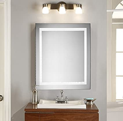 Amazoncom Wall Mount Lighted Mirror 28 X 28 Led Bathroom Vanity