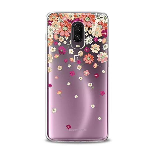 Lex Altern TPU Case OnePlus 6T 6 2018 5T 5 2017 3 2016 One+ Three 1+ Clear Cover Orange Floral Contour Print Protective Flexible Design Red Petals Transparent Girls Women Silicone Watercolor Unique