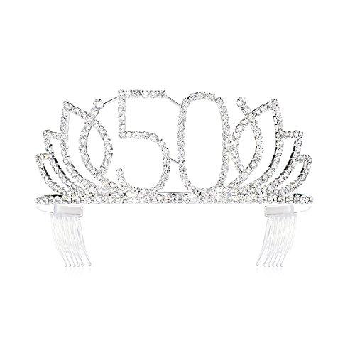 DcZeRong Queen 50 Birthday Tiara Women 50th Birthday Crown Silver Rhinestone Crystal Diamond Crown]()