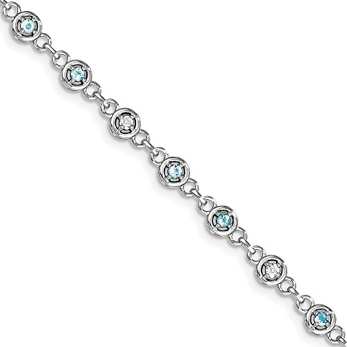 Sonia Jewels Sterling Silver Blue Simulated Topaz & Diamond Bracelet 7