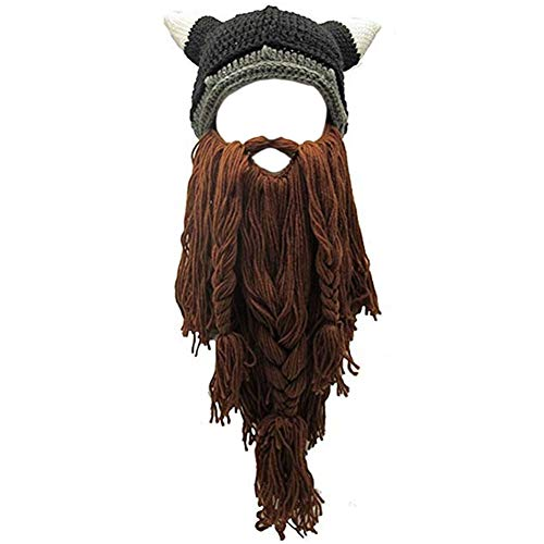Creative Original Barbarian Knit Hair Beard Hat and Roman Knight Helmet Visor Cosplay Knit Beanie Hat (V-Brown)