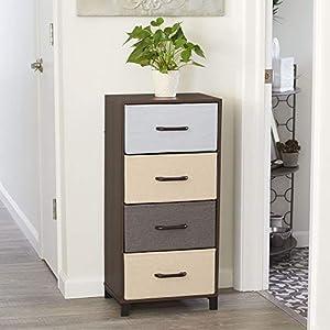 Household Essentials 8014-1 Wooden 4 Drawer Dresser | Storage Night Stand | Mahoganey