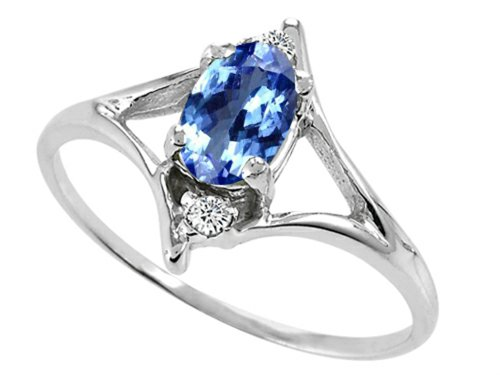 Tommaso Design Oval 6x4 mm Genuine Tanzanite Ring 14 kt White Gold Size 9 ()