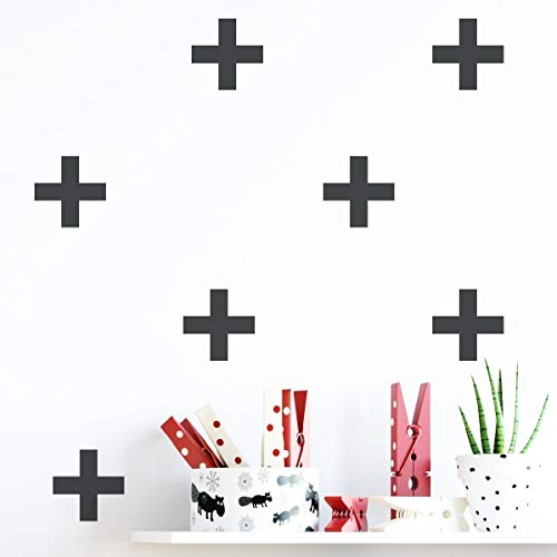(Black Monochrome Plus Sign Wall Art Stickers for Kids Bedroom or Nursery - 48 Pieces)