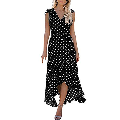 Women's Vintage V Neck Swing Casual Party Dress Womens Dots Boho Mini Dress Lady Beach Summer Sundrss Maxi Dress Short Sleeve Split Belted Flowy Boho Beach Long Dress (Black, S)