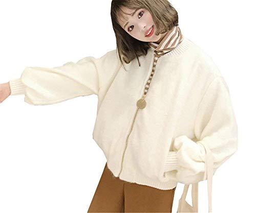 Collo Moda Cerniera Lunga Donna Sleeve Manica Giovane Con Pilot Cappotto Tasche Baggy Costume Lantern Coreana Giacca Corto Laterali Invernali Beige Bomber W5Pq0TTxw8