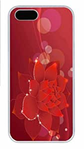 Hot iPhone 5S Customized Unique Print Design Red Water Lily Illustration New Fashion PC White iPhone 5/5S Cases