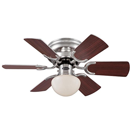 Small Top Mount Light - Westinghouse 7213300 Traditional Petite 30 inch Brushed Nickel Indoor Ceiling Fan, Light Kit with Opal Mushroom Glass