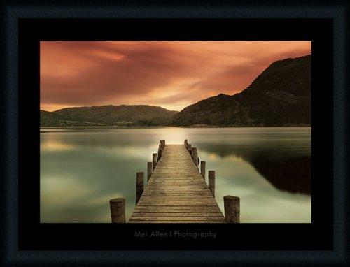 Sunset Dock (Ullswater by Mel Allen Dock Sunset 35x27 Art Print Framed)