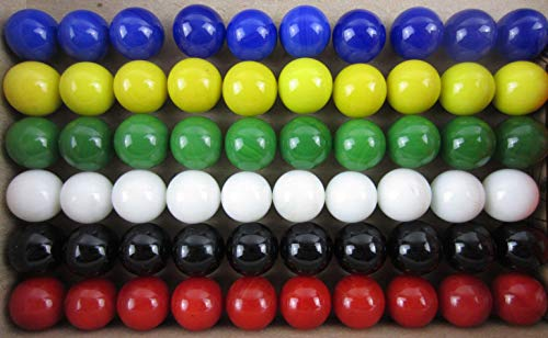 Big Game Toys 60 Solid Color Glass Replacement Marbles Set for Marble Run, Chinese Checker Board Game, Aggravation, Wahoo (10 Each red, White, Glue, Green, Yellow, Black) 14mm]()