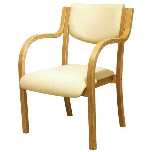 ダイニングチェア 完成品 木製 椅子 ダイニングチェアー スタッキングチェア 肘付 LDCH-1-S (アイボリー) B014QQD1BS  アイボリー