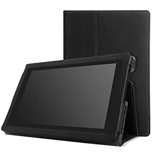 MoKo Case for Amazon Kindle Fire HD 7 2013 - Slim Folding Cover Case for Fire HD 7.0 Inch 3rd Generation Tablet, BLACK (With Smart Cover Auto Wake / Sleep.)