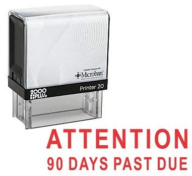(Attention 90 Days Past Due Cosco Printer Office Self Inking Rubber Stamp - Red Ink (C-10013))