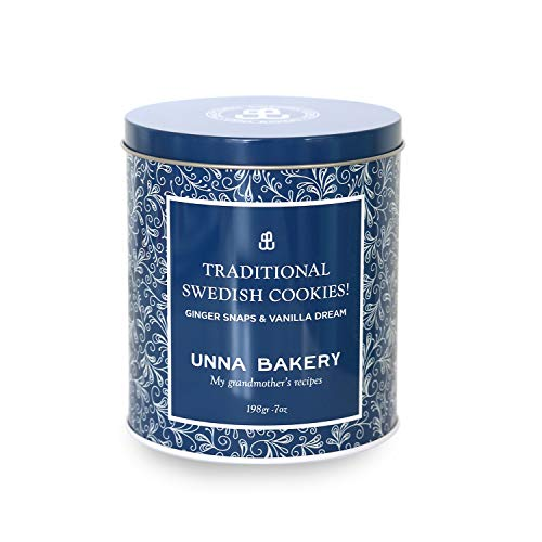 Holiday Tin with Swedish Gingerbread Snaps and award-winning Vanilla Dream Cookies. Designed for gatherings and gifting and filled with 16 cookies, 7 oz of our delicious cookies! - Swedish Butter Cookies
