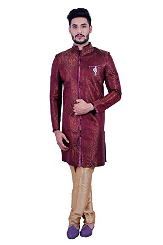 Short Multicolor Indian Wedding Indo-Western Sherwani for Men by Saris and Things